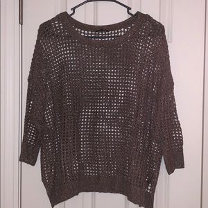 open knit sparkly pullover sweater